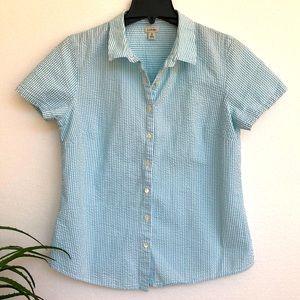 💜LL Bean Seersucker Button-Front Shirt Medium